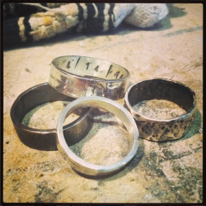 Group of Sterling silver rings bands.