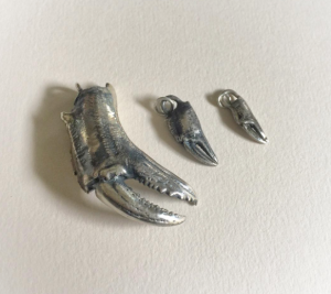 Sterling silver lost wax cast crab claws