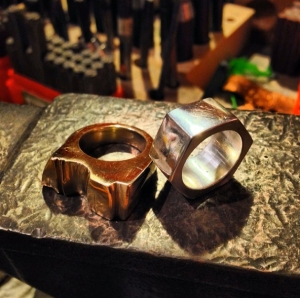 Lost wax cast rings in bronze and Sterling silver. Beginning student work!