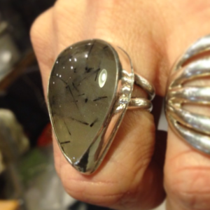 Sterling silver hand-fabricated ring with bezel-set Dendritic agate