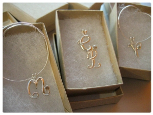 Bride's Maid gifts. Sterling silver initials with chocolate diamonds.