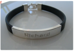 Father's Day, anniversary bracelet, Leather, Sterling silver with hand-engraving.