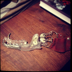Lost wax cast Sterling silver + Glass Coy-Wolf jaw