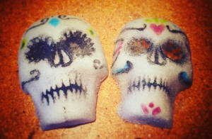 Pate de verre - glass - sugar skulls