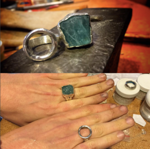 Daisy made both of these rings (lost wax cast) in a Metal + Glass course.