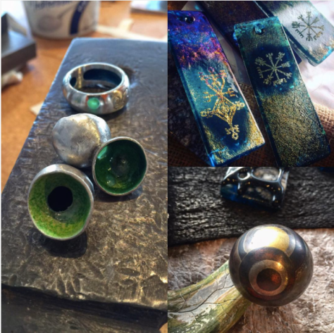 Sterling silver lost wax cast forms, vitreous enamel, Kiln formed glass with sandblasted symbols, married metal dome ring sterling silver, brass and copper